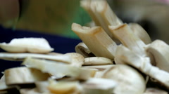 Mushrooms chopping, champignon, close up, 4k Stock Footage