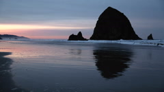 Cannon Beach Sunrise, Haystack Rock - stock footage
