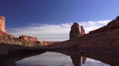 Sandstone monuments and ripples ,ARCHES NATIONAL PARK Stock Footage