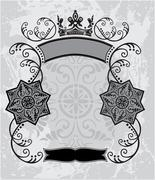 Decorative frame with crown Stock Illustration