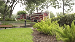 Firetruck parked in the parking lot of an office building 4k Stock Footage