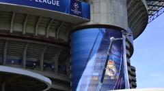 Men at work to decorate the San Siro stadium in Milan, Italy Stock Footage