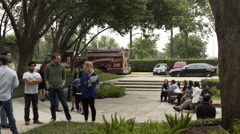 Stafford, Texas - May 21, 2016  People outside and office during a fire drill 4k Stock Footage