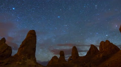 MoCo Astro Time Lapse of Milky Way Galaxy Rising over Trona Pinnacles -Long Shot Stock Footage