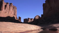 "ARCHES NATIONAL PARK, "" Park Ave.""  Worms eye view Stock Footage"