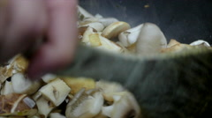 Roasting mushrooms, slow motion, 4k Stock Footage