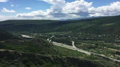 View to The Aragvi and Kura Rivers Cross View from Mtskheta Georgia HD Stock Footage