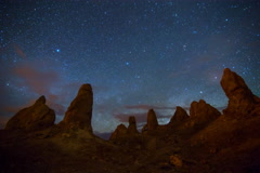 5K MoCo Astro Time Lapse of Milky Way Galaxy Rising over Trona Pinnacles  Stock Footage