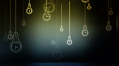 Group of light bulb shapes with clock symbol animation Stock Footage