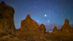 MoCo Tracking Astro Time Lapse of Milky Way over Trona Pinnacles -Zoom Out- Stock Footage