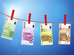 euro banknotes on clothesline - stock illustration