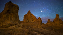 MoCo Tracking Astro Time Lapse of Milky Way over Trona Pinnacles -Pan Right- Stock Footage