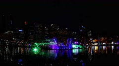 Laser and Water Show at Darling Harbour, Sydney in 4k Stock Footage