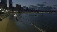 Aerial Image of Balneário Camboriú BC Beach at Night 006 Stock Footage
