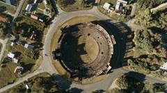 Aerial view of abandoned bullring, Plaza de toros Real de San Carlos Stock Footage
