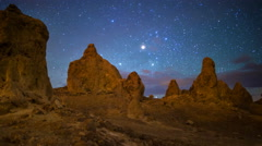 MoCo Tracking Astro Time Lapse of Milky Way over Trona Pinnacles -Pan Left- Stock Footage