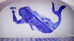 Mermaid mural painted in niche at Casapueblo, Punta del Este Stock Footage