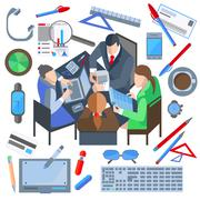 Business people, man, woman, phone, laptop, documents, watch Stock Illustration