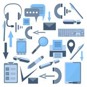 Set isolated office appliances flash drive, mobile phone, headset, printer Stock Illustration