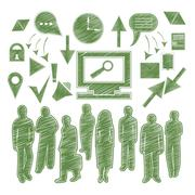 Set isolated icon people, arrow, gadgets Stock Illustration