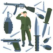 Set isolated weapons, soldier weapon, knife, bullet, grenade Stock Illustration