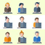 Set call center operators headphones, computers, people, girls, boys, women, men Piirros