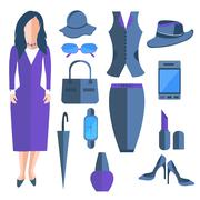 Set isolated business ladies, clothes and accessories, umbrella, telephone - stock illustration