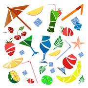 Set cocktails, umbrellas, fruit, banana, strawberry, cherry Stock Illustration