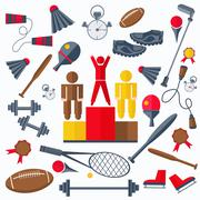 Rewarding athletes, sport goods racquet, weight, skates, a jump rope Stock Illustration