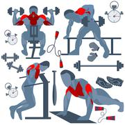 Sportsman pumping muscles fitness club - stock illustration