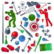 Set athletes, sports goods, balloons Stock Illustration