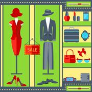 Shop window mens womens clothing suits, dresses, watches, handbags - stock illustration