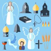 Set theme religion angel, bell, church, dove - stock illustration