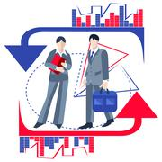 Business people isolated, infographics, arrows - stock illustration