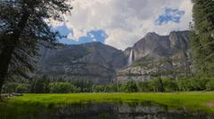 Yosemite national park mountain waterfall - stock footage