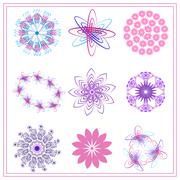 Set of multi colored ornaments circle, oval, flower - stock illustration