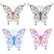 Set butterflies ornamental style Stock Illustration