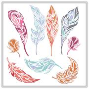 Set feathers  different colors Stock Illustration
