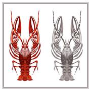 Isolated ornament crayfish in red and black color - stock illustration