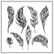 Set of black decorative feathers on a white background - stock illustration