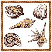 Set decorative ornamental ethnic of seashells on a white background Stock Illustration
