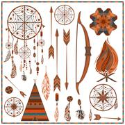 Set isolated ethnic elements arrows, feathers, beads, wigwam, onions, fire Stock Illustration