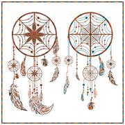 Dream catcher ethnic ornament spider web, beads, circler, feathers Stock Illustration