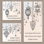 Set of greeting cards ethnic ornament in vintage retro style lanterns - stock illustration