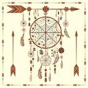 Dream Catcher arrows, beads, ethnic Indian, feathers, circles - stock illustration