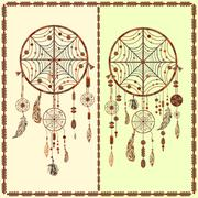 Dream Catcher ethnic Indian, feathers, beads, circles Stock Illustration