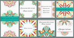 Set ornament of eight cards with decorative isolated flowers Stock Illustration