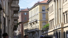 Beautiful Milan Italy architecture buildings with green plants on balconies Stock Footage