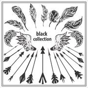Set of black decorative feathers wings and arrows on a white background - stock illustration