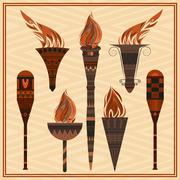 Set  ornamental blazing torches elements  greek ornament, fire - stock illustration
